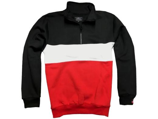 Männer Pullover schwarz-weiß-rot mit Reißverschluß